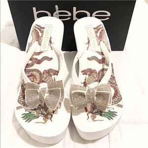 bebe Alaya Wedge Sandal White